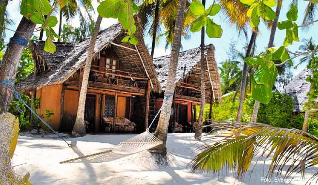 Da blühen Traveler-Herzen auf: die urigen Strandhütten der »Evergreen Bungalows« auf Sansibar