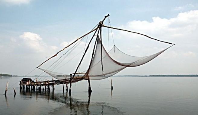 Fischernetze bie Kochi in Kerala, Indien