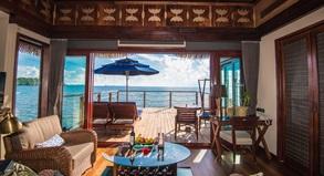 Wasserbungalow Wohnbeispiel im Palau Pacific Resort in Mikonesien