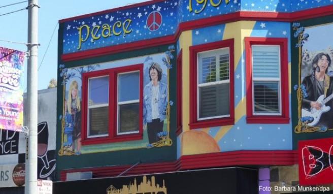 Die Fassade des Hauses in der Haight Street ruft Erinnerungen an den Hippie-Sommer 1967 wach