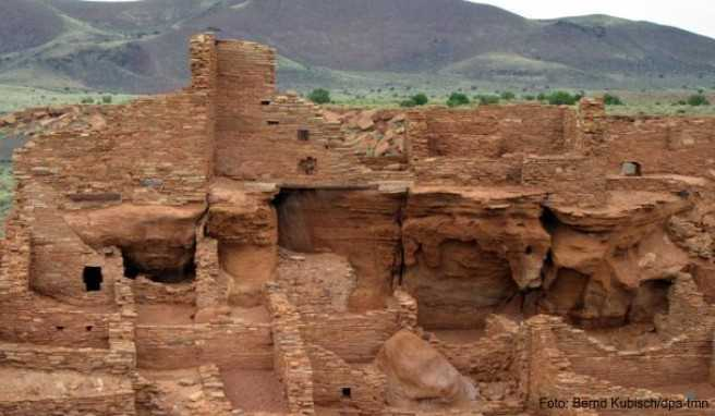 Höhepunkt auf dem Weg von Flagstaff nach Tuba City: die historische Stätte Wupatki, aus Sandsteinblöcken im 12. und 13. Jahrhundert erbaut