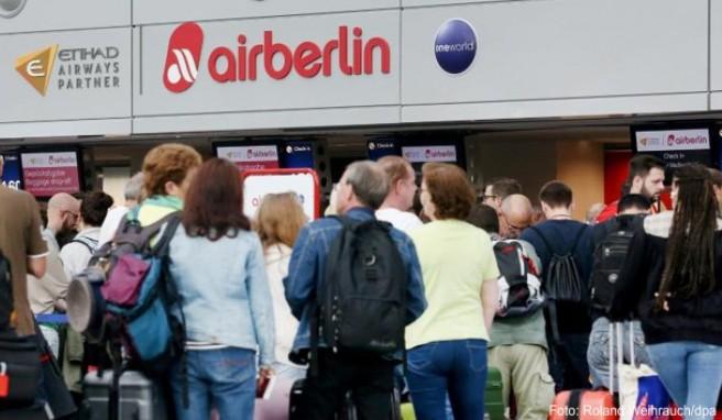 Schlechte Zeiten für Air-Berlin-Reisende: Die insolvente Airline hat viele Flüge annulliert