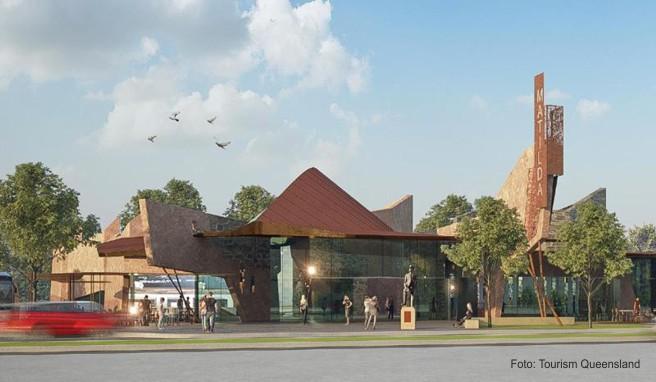 Der Neubau des «Waltzing Matilda Centre» in Winton in Queensland - hier eine Computeranimation - soll im April 2018 eröffnet werden