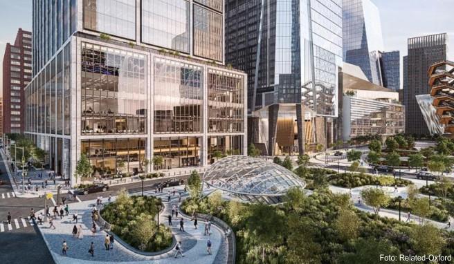 Neues Geschäfts- und Unterhaltungsviertel im Westen von Manhattan: Der erste Teil von Hudson Yards - hier ein Entwurf - soll im Frühjahr 2019 öffnen
