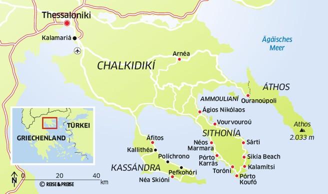 chalkidiki griechenland karte Griechenland: Mit dem Mietwagen zu den schönsten Orten Chalkidikis
