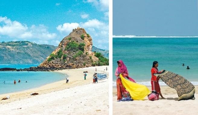 Noch geht es am Strand von Kuta auf Balis Nachbarinsel Lombok friedlich zu.