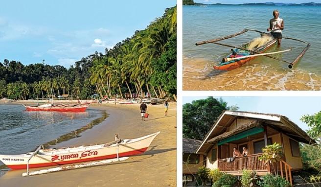 Vom Dschungel umrahmt: der kleine Strandort Port Barton an der Westküste der Insel Palawan auf den Philippinen.