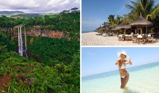 Die Chamarel-Wasserfälle im Südwesten von Mauritius. Viele Beachresorts stehen direkt am Strand.