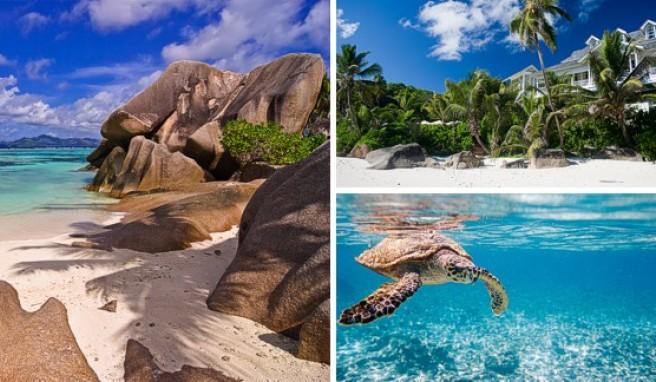 Viele Strände auf den Seychellen sind von Granitfelsen umgeben. Das Hotel Banyan Tree an der Anse Intendance auf Mahé liegt direkt am Traumstrand.